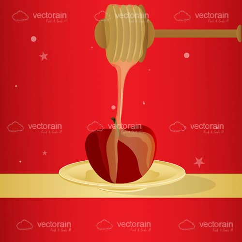 Vector honey and apple