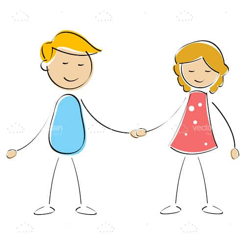 Vector boy and girl holdoing hands