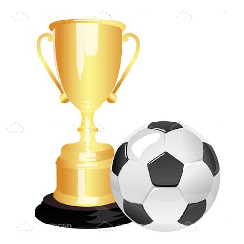 Illustration of soccer ball and trophy