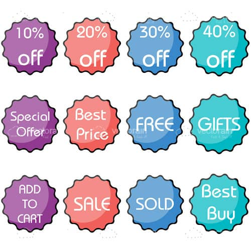Set of discount icon