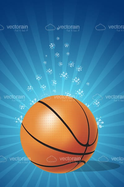 Basketball on floral background