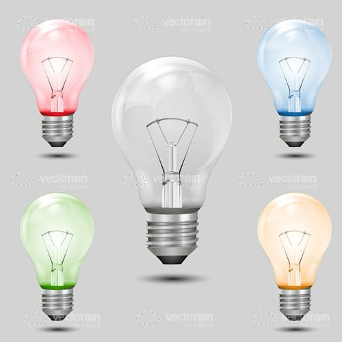 Different colorful bulb