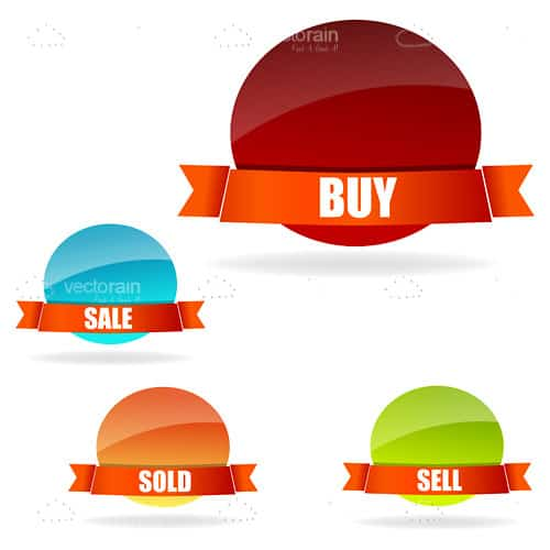 Illustration of buy and sell tags