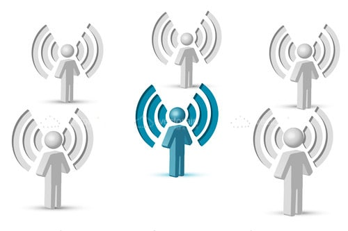 Wifi symbol with people