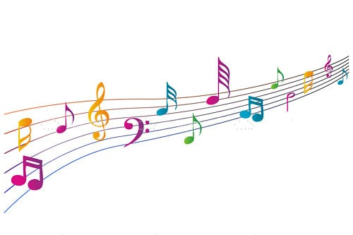 Colorful music texts on white background