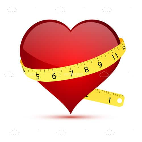 Heart wrapped with measuring tape