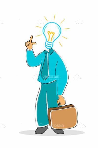 Businessman with electric bulb  mouth
