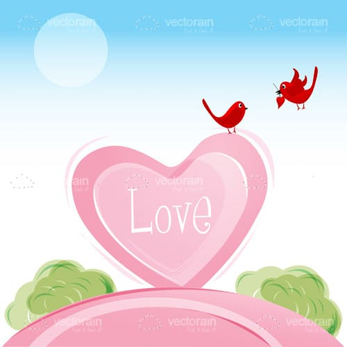 Love birds in valentine card